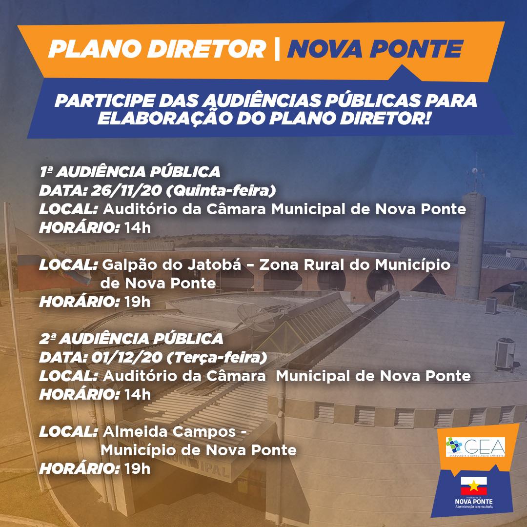Participe das Audiências Públicas do Plano Diretor de Nova Ponte